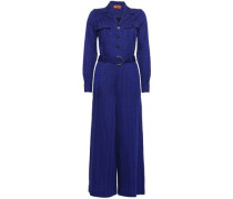 Cropped Belted Crochet-knit Jumpsuit Royal Blue