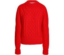 Cable-knit Wool Sweater Red