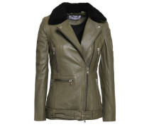 Convertible Shearling-trimmed Leather Biker Jacket Grey Green
