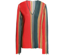 Woman Fringed Color-block Knitted Sweater Multicolor