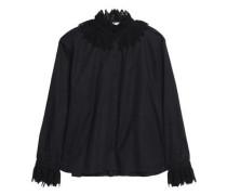 Lace-trimmed cotton-piqué blouse