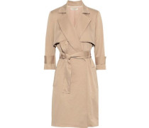 Belted Sateen Dress Beige