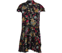 Woman Pussy-bow Floral-print Fil Coupé Chiffon Mini Dress Black