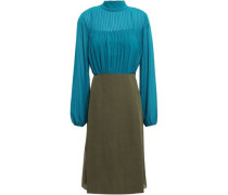 Woman Pintucked Georgette And Crepe Dress Teal