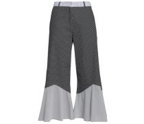 Fluted printed cotton-poplin culottes