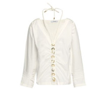Embellished Ruched Cotton-poplin Top White Size 0