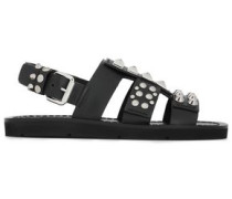 Cutout Studded Leather Sandals Black