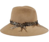 Farrah faux feather-trimmed rabbit-felt fedora