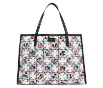 Leather-trimmed Printed Twill Tote Sky Blue Size --
