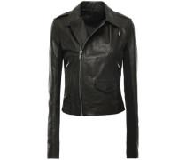 Ribbed Jersey-paneled Textured-leather Biker Jacket Black
