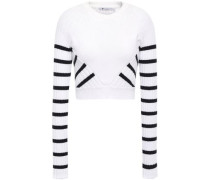 Cropped Striped Ribbed Cotton-blend Sweater White