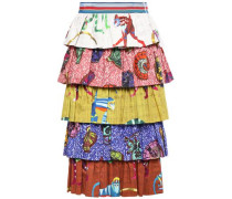 Tiered Printed Stretch-cotton Twill Skirt Multicolor