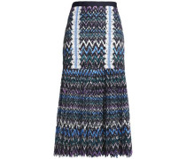 Diana crochet-trimmed printed guipure lace midi skirt