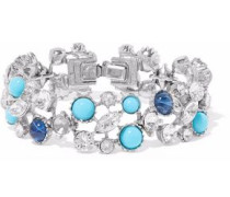 Silver-tone, Swarovski crystal and stone bracelet