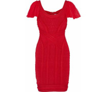 Tulle-trimmed Cloqué-bandage Mini Dress Red