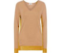Mesh-trimmed Wool-blend Sweater Tan