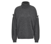Ruffle-trimmed Embellished Knitted Turtleneck Sweater Dark Gray