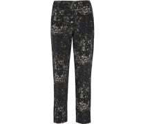 Leopard-print silk-crepe tapered pants