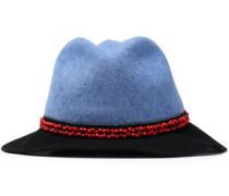 Bead-embellished two-tone wool-felt fedora
