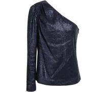 Ira One-shoulder Sequined Stretch-jersey Top Indigo Size 12