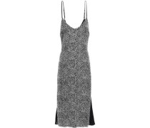 Woman Leather-trimmed Leopard-print Silk-chiffon Midi Slip Dress Animal Print