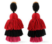 Gold-tone, Bead And Tassel Earrings Multicolor Size --