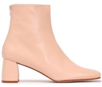 Woman Crinkled Glossed-leather Ankle Boots Blush