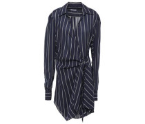 Striped Chiffon Wrap Dress Navy