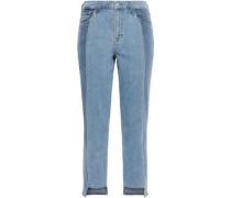 Ruby Cropped Two-tone High-rise Slim-leg Jeans Light Denim  8