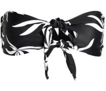 Knotted cutout floral-print bandeau bikini top