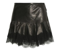 Lace-trimmed leather mini skirt