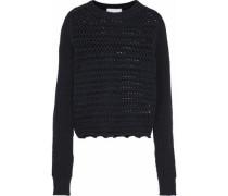 Crochet-knit cotton-blend sweater