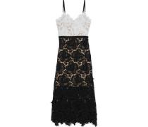 Frida Floral-appliquéd Guipure Lace Midi Dress Black