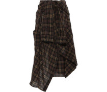 Tie-front Asymmetric Checked Wool-blend Midi Skirt Brown
