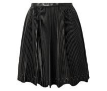 Studded Plissé-leather Mini Skirt Black