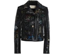 Fringed printed leather jacket