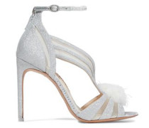 Paola Feather-embellished Glittered Leather Sandals Silver