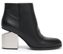 Bagi Cutout Paneled Metallic Leather Ankle Boots Black