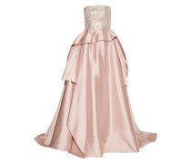 Woman Embellished Tulle-trimmed Silk And Wool-blend Gown Pastel Pink