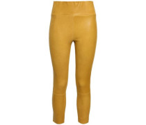 Cropped Leather Leggings Saffron