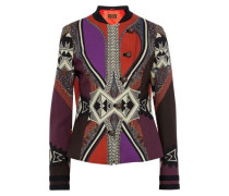 Double-breasted Printed Stretch-wool Crepe Jacket Multicolor
