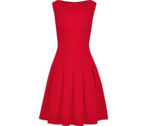 Woman Pleated Wool-blend Crepe Dress Red