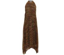 Pleated Crochet-knit Halterneck Midi Dress Brick