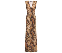 Wrap-effect Snake-print Stretch-jersey Maxi Dress Animal Print
