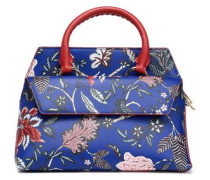 Printed textured-leather tote