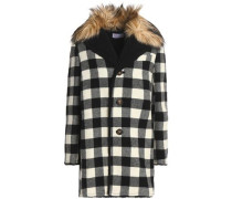 Faux Fur-trimmed Checked Wool Coat Black