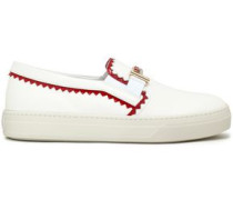 Patent Leather-trimmed Smooth Leather Slip-on Sneakers White