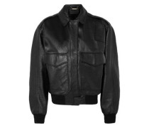 Leather Bomber Jacket Black