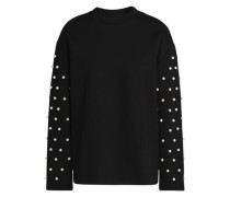 Faux pearl-embellished cotton and modal-blend top