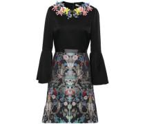 Embellished Satin-crepe And Brocade Mini Dress Black